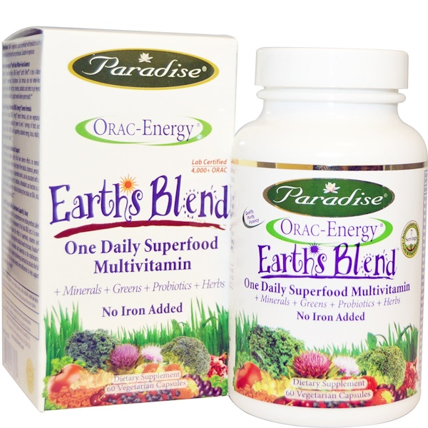 Paradise Herbs, ORAC-Energy, Earth's Blend, One Daily Superfood Multivitamin, No Iron, 60 Veggie Caps