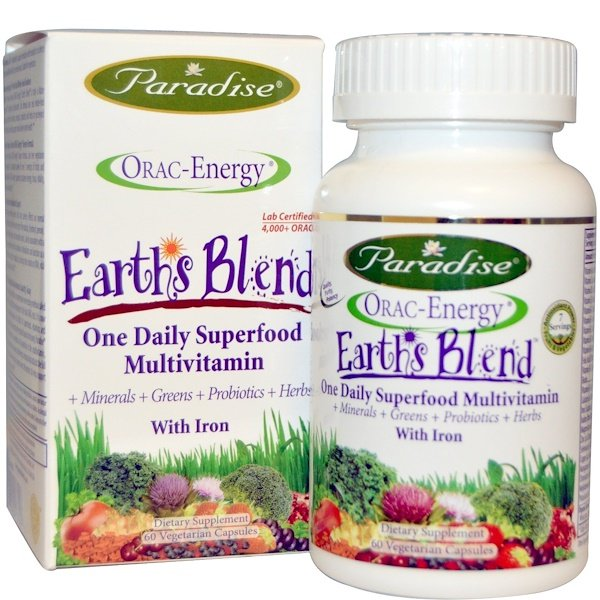Paradise Herbs, ORAC-Energy, Earth's Blend, One Daily Superfood Multivitamin, With Iron, 60 Veggie Caps