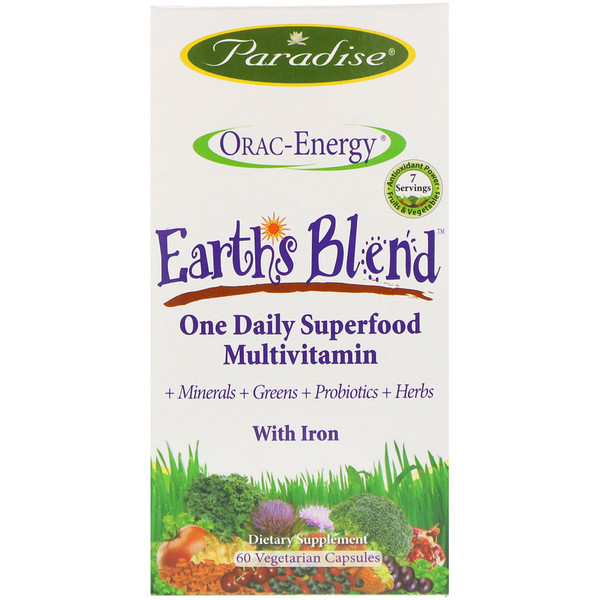Paradise Herbs, ORAC-Energy, Earth's Blend, One Daily Superfood Multivitamin, With Iron, 60كبسولة نباتية