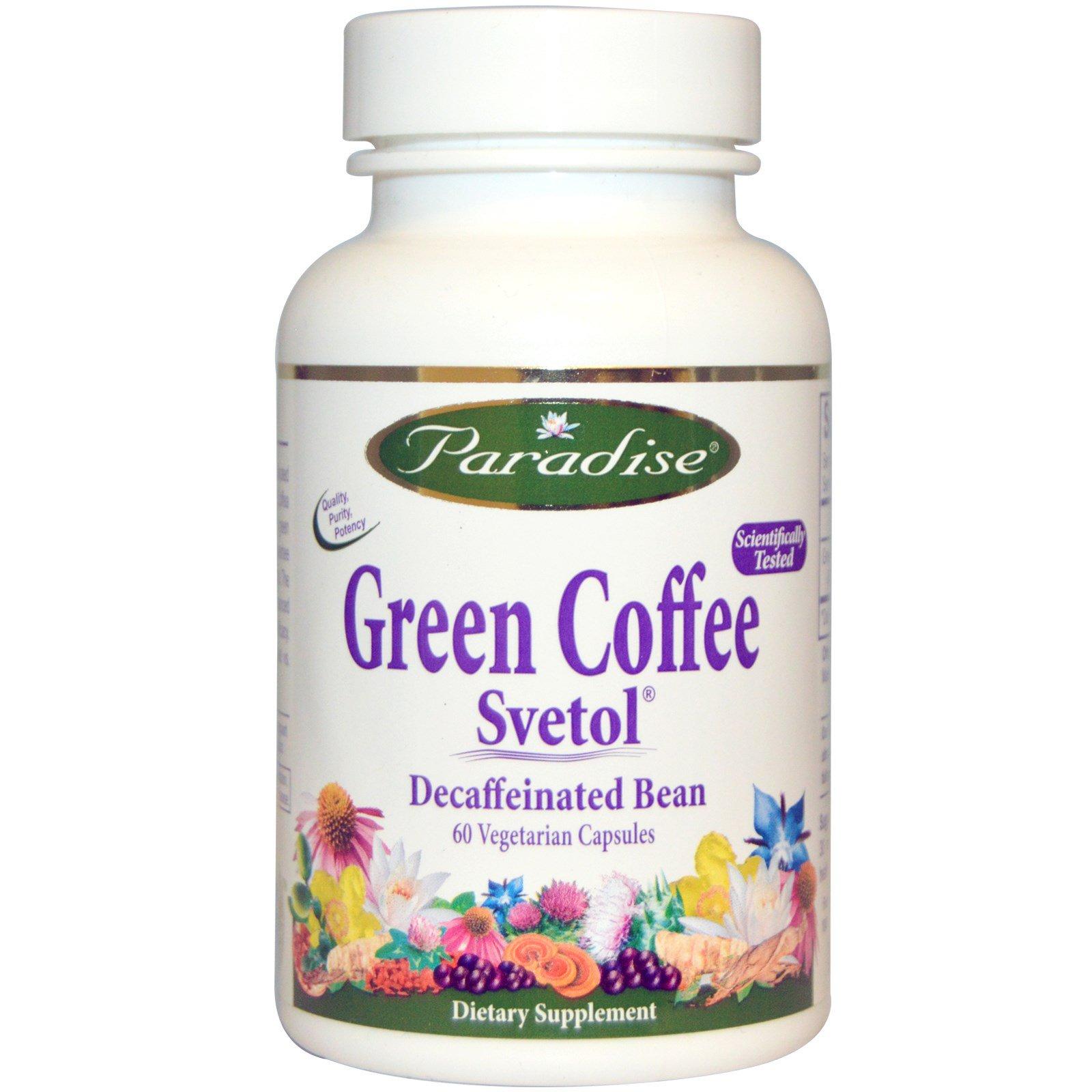 Paradise Herbs, Зеленый кофе, Svetol, 60 капсул на растительной основе