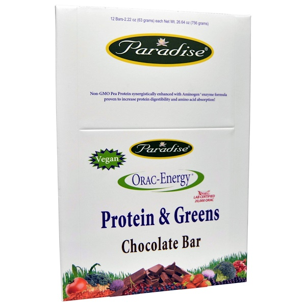 Paradise Herbs, ORAC-エナジー®,  プロテイン & グリーンズ, チョコレートバー, 12 本, 各 2.22 オンス (63 g) (Discontinued Item)