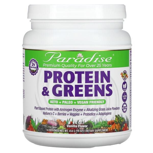 Paradise Herbs, Protein & Greens, sabor a vainilla, 16 oz (454 g)