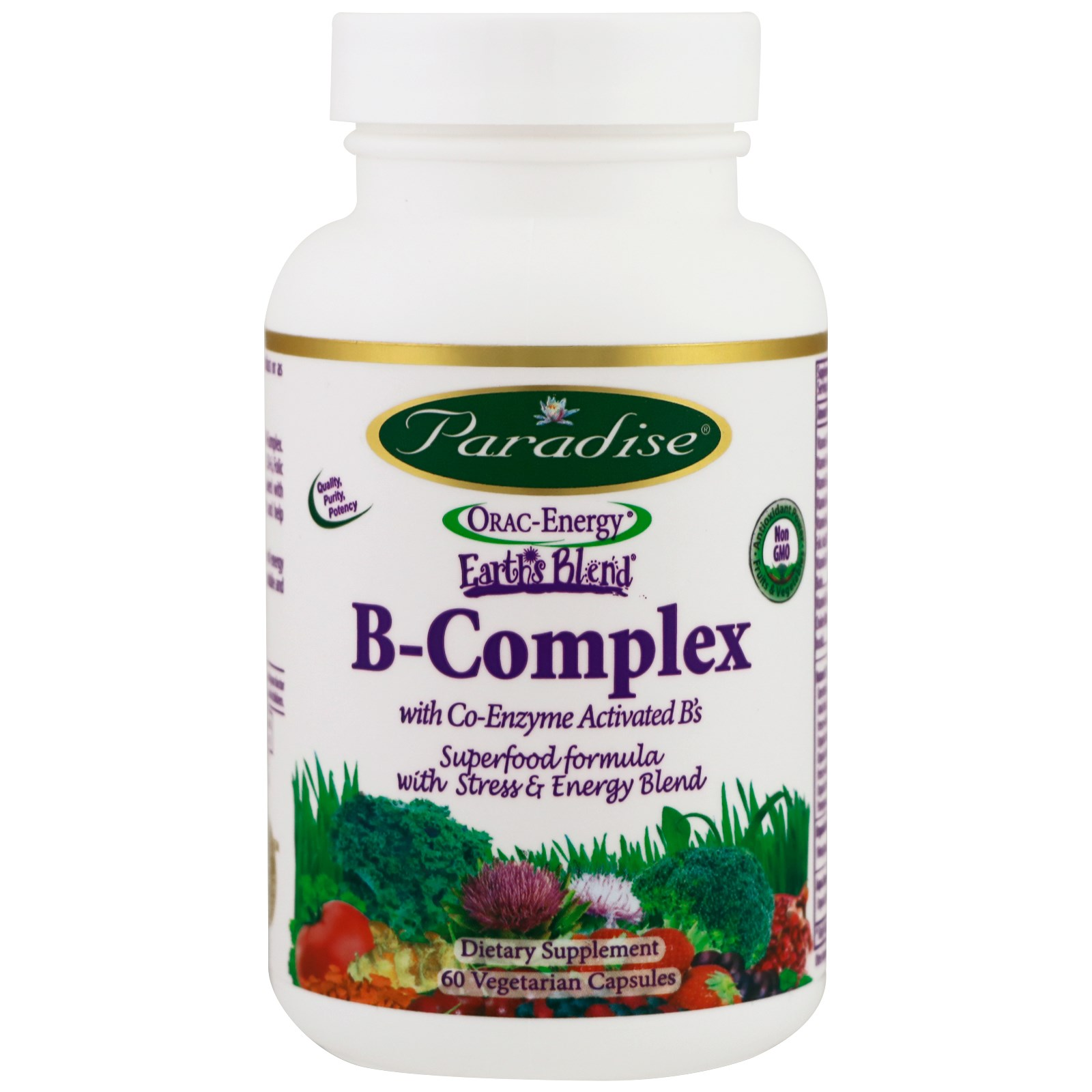 Paradise Herbs, B-complex with Co-Enzyme Activated B's, 60 Vegetarian Capsules