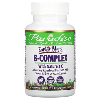 Paradise Herbs, Earth's Blend, B-Complex with Nature's C, 60 Vegetarian Capsules
