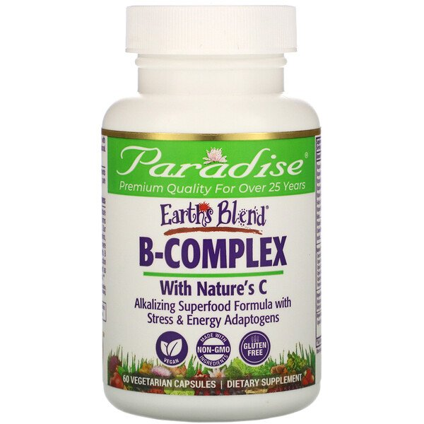 Earth's Blend, B-Complex with Nature's C, 60 Vegetarian Capsules