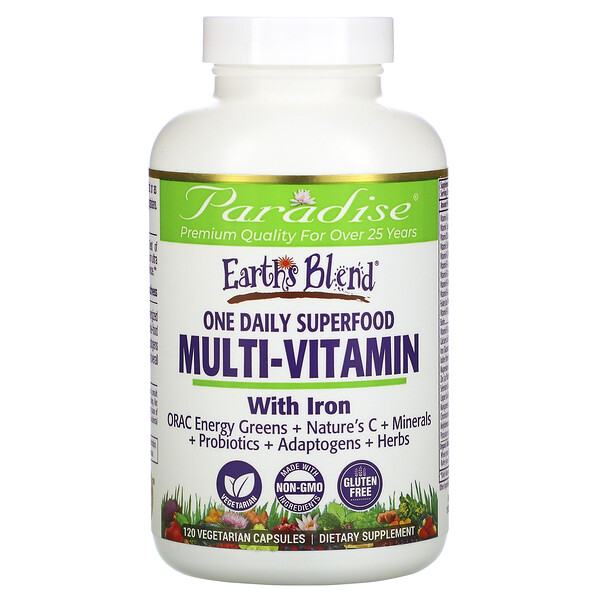 Earth's Blend, One Daily Superfood Multi-Vitamin with Iron, 120 Vegetarian Capsules