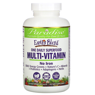 Paradise Herbs, Earth's Blend, One Daily Superfood Multi-Vitamin, 120 Vegetarian Capsules