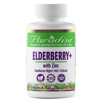Paradise Herbs Earth's Blend, Elderberry+ with Zinc, 60 Vegetarian Capsules