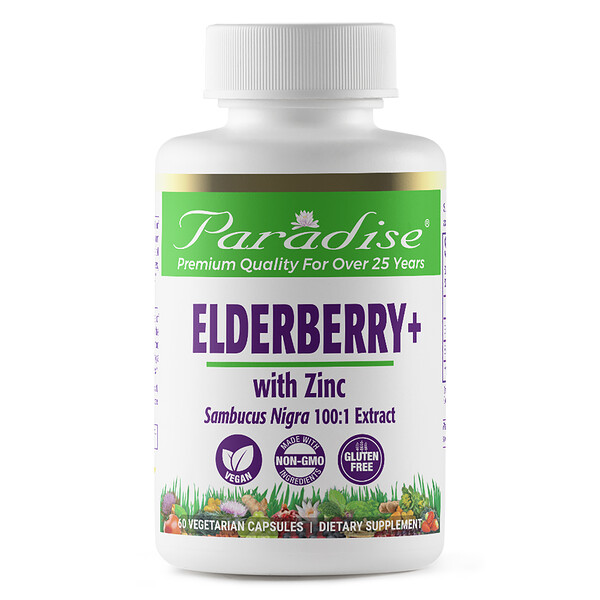 Paradise Herbs, Earth's Blend, Elderberry+ with Zinc, 60 Vegetarian Capsules