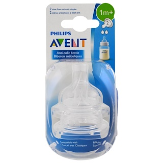 Philips Avent, Slow Flow Anti-Colic Nipples, 1 + Months, 2 Pack