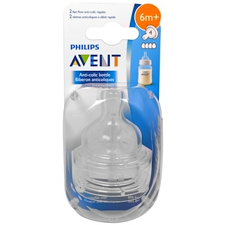 Philips Avent, Fast Flow Anti-Colic Nipples, 6+ Months , 2 Pack