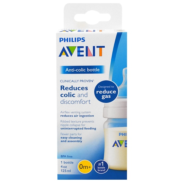 Philips Avent, Anti-Colic Bottle, 0 + Months, 1 Bottle, 4 oz (125 ml) (Discontinued Item)