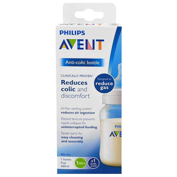 Philips Avent, Anti-Colic Bottle, 1 + Months, 1 Bottle, 9 oz (260 ml) (Discontinued Item)
