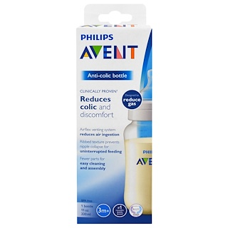 Philips Avent, Anti-Colic Bottle, 3 + Months, 1 Wide-Neck Bottle, 11 oz (330 ml)