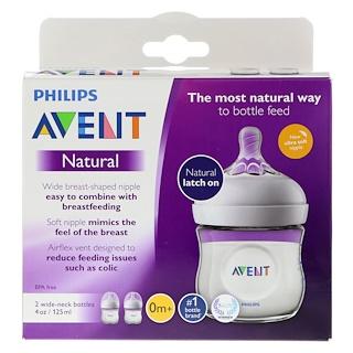 Philips Avent, Бутылочки с натуральными сосками, от 0 месяцев, 2 бутылки, 4 унции (125 мл) каждая