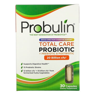 Купить Probulin Total Care Probiotic, 20 Billion CFU, 30 Capsules