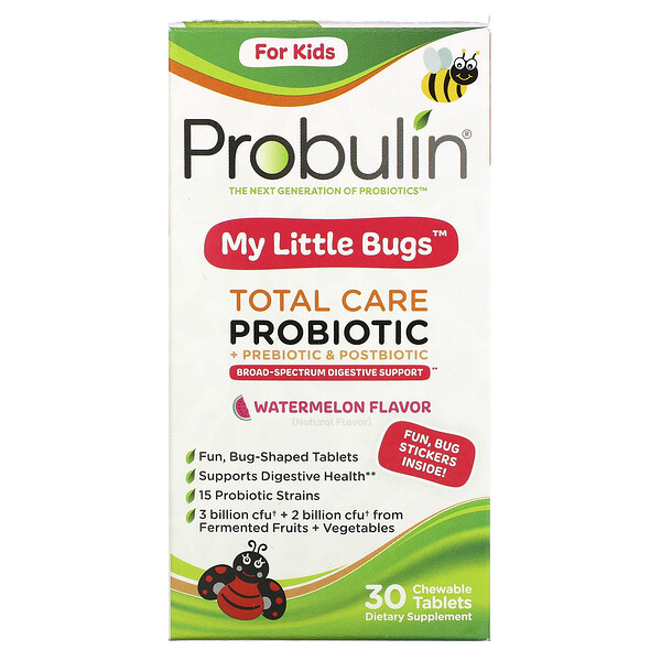 For Kids, My Little Bugs, Total Care Probiotic + Prebiotic & Postbiotic, Watermelon , 30 Chewable Tablets