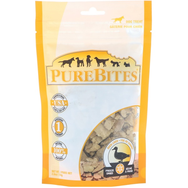 Pure Bites, Freeze Dried, Dog Treats, Duck Liver, 2.6 oz (74 g)