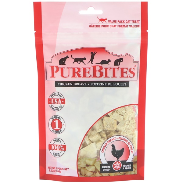 Pure Bites, Freeze Dried, Cat Treats, Chicken Breast , 2.32 oz (66 g)
