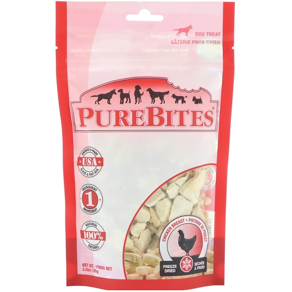 Pure Bites, Freeze Dried, Dog Treats, Chicken Breast , 3.0 oz (85 g) (Discontinued Item)