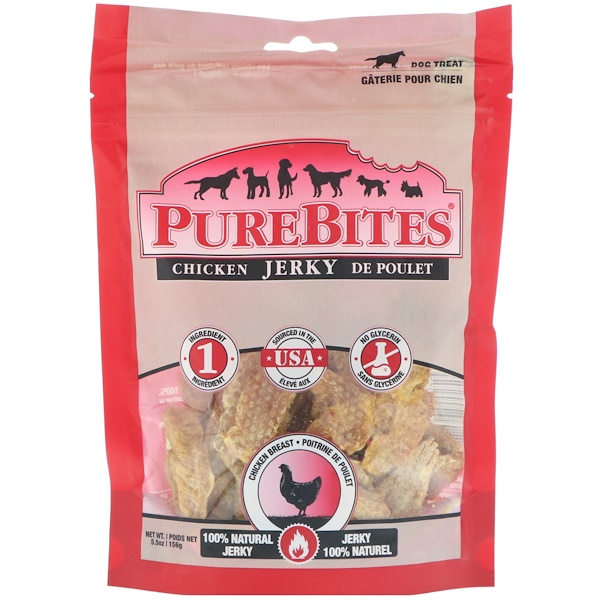 Pure Bites, Chicken Jerky, Dog Treats, Chicken Breast, 5.5 oz (156 g) (Discontinued Item)