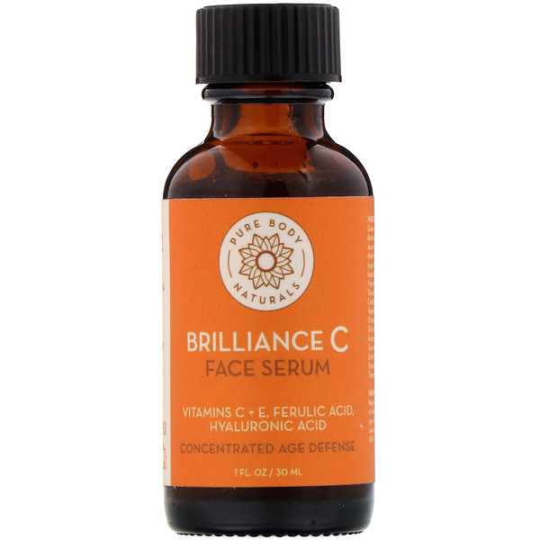 Pure Body Naturals, Brilliance C Face Serum, 1 fl oz (30 ml)
