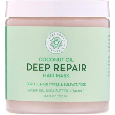 Pure Body Naturals Кокосовое масло, маска для глубокого восстановления волос, 260мл (8, 8жидк.унции)  - купить со скидкой