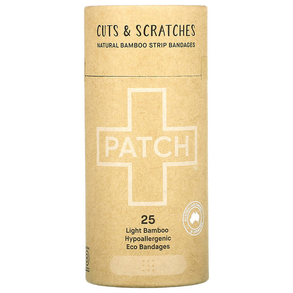 Patch, Natural Bamboo Strip Bandages, Cuts & Scratches, Light, 25 Eco Bandages