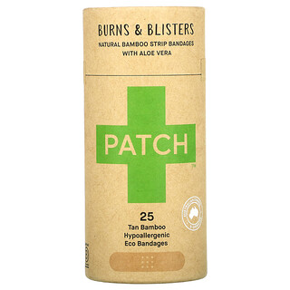 Patch, Natural Bamboo Strip Bandages with Aloe Vera, Burns & Blisters, Tan, 25 Eco Bandages