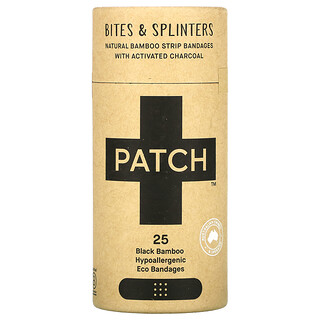 Patch, Natural Bamboo Strip Bandages with Activated Charcoal, Bites & Splinters, Black, 25 Eco Bandages
