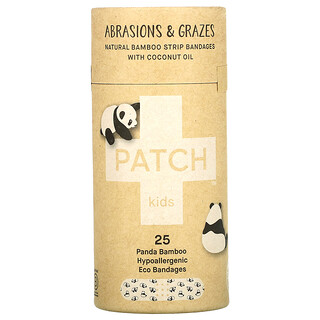 Patch, Kids, Natural Bamboo Strip Bandages with Coconut Oil, Abrasions & Grazes, Panda, 25 Eco Bandages