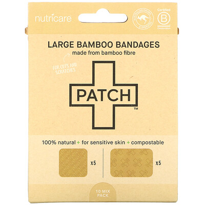 Купить Patch Large Bamboo Bandages, 10 Mix Pack