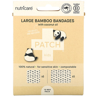 Patch, Kids, Large Bamboo Bandages with Coconut Oil, Panda, 10 Mix Pack