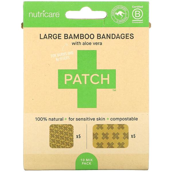 Large Bamboo Bandages with Aloe Vera, 10 Mix Pack