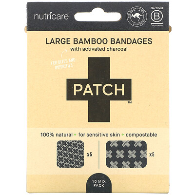 Купить Patch, Large Bamboo Bandages with Activated Charcoal, 10 Mix Pack