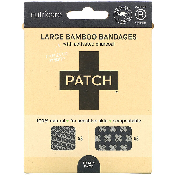 Patch, Large Bamboo Bandages with Activated Charcoal, Black, 10 Mix Pack