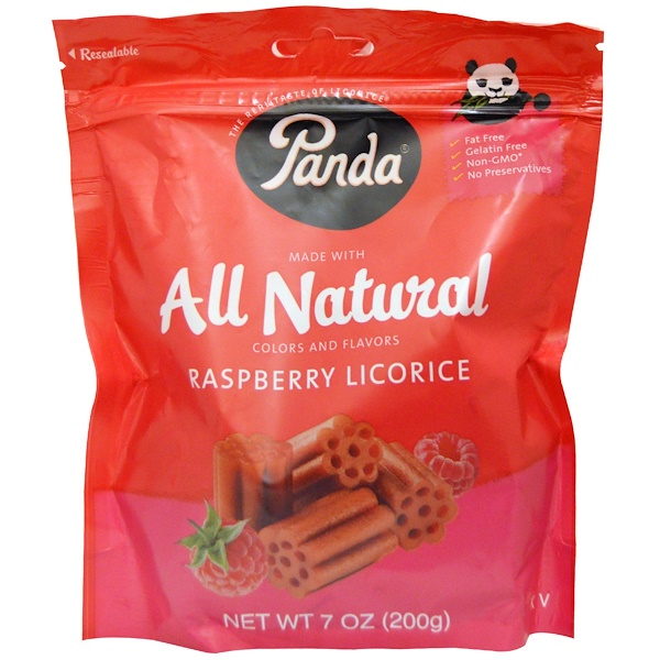 Panda Licorice, All Natural Raspberry Licorice, 7 oz (200 g) (Discontinued Item)