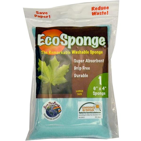 "Pacific Dry Goods, EcoSponge, The Remarkable Washable Sponge, 1 Large Size Sponge, 6"" x 4"" (Discontinued Item)"