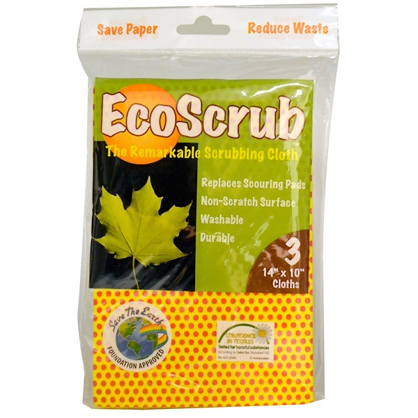 """Pacific Dry Goods, EcoScrub, The Remarkable Scrubbing Cloth, 3 Cloths, 14"""" x 10"""" Each (Discontinued Item)"""