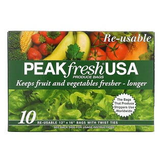 PEAKfresh USA, Produce Bags with Twist Ties, Reusable, 10 Bags