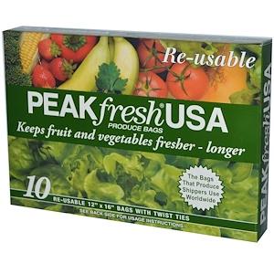 ПикФрэш США, Produce Bags, Reusable, 10 — 12″ x 16″ Bags, with Twist Ties отзывы