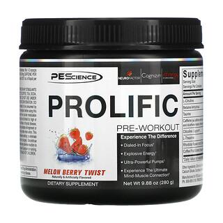 PEScience, Prolific, Pre-Workout, Melon Berry Twist, 9.88 oz (280 g)