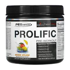 PEScience, Prolific,訓練前營養粉,芒果味,9.88 盎司(280 克)