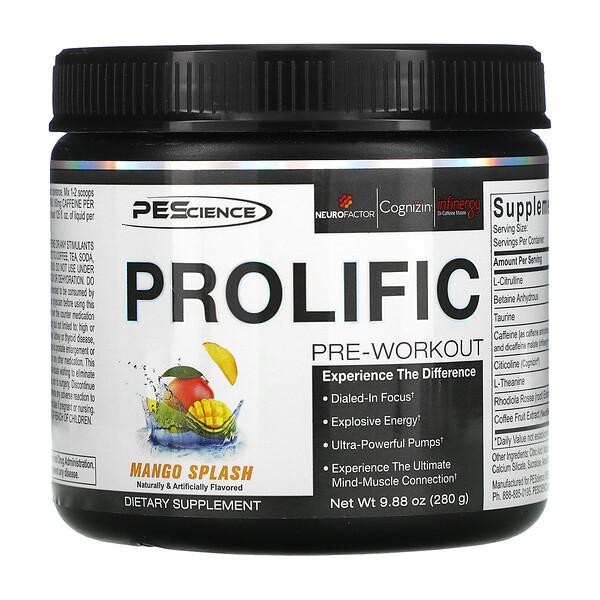 PEScience, Prolific, Pre-Workout, Mango Splash, 9.88 oz (280 g)