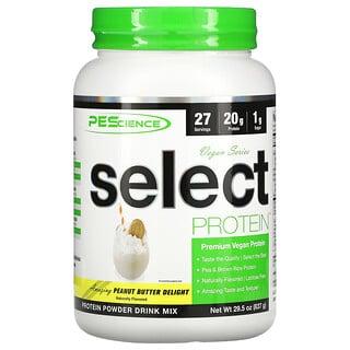 PEScience, Select Protein، مجموعة نباتية، زبدة الفول السوداني اللذيذة، 29.5 أونصة (837 جم)