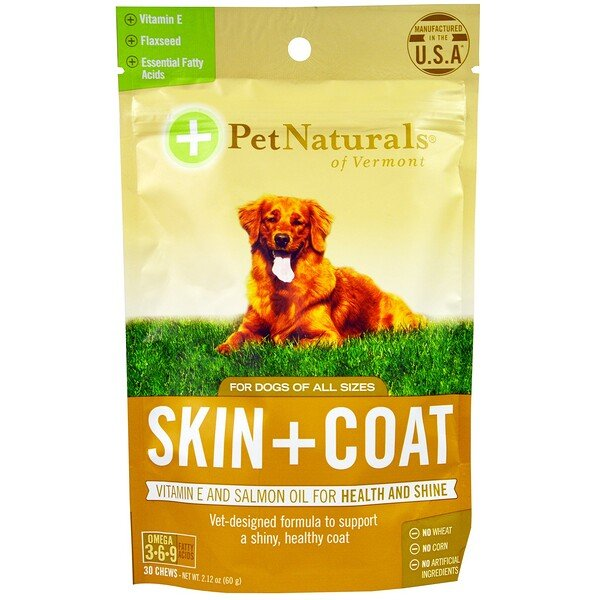 Pet Naturals of Vermont, Haut + Fell, für Hunde, 30 Kautabletten, 2.12 oz (60g)