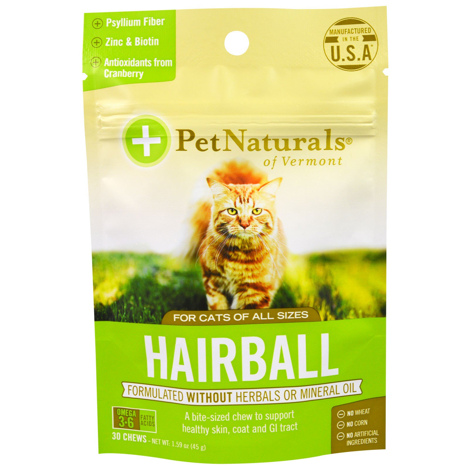 Pet Naturals of Vermont, Hairball 美毛養腸咀嚼片 ,適合貓,30片,1.59 oz (45 g)