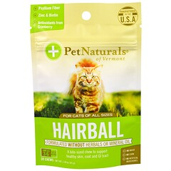 Pet Naturals of Vermont, Bola de pelos, Para gatos, 30 Masticables, 1.59 oz (45 g)
