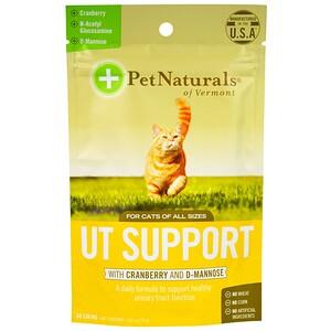 Pet Naturals of Vermont, УТ-поддержка с клюквой и D-маннозой, для кошек, 60 жевательных таблеток, 2,65 унции (75 г)