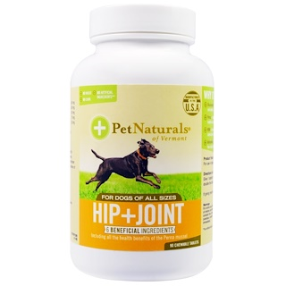 Pet Naturals of Vermont, Hip + Joint, For Dogs of All Sizes, 90 Chewable Tablets